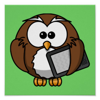 Cute Owl with Ereader Tablet with Green Background Print