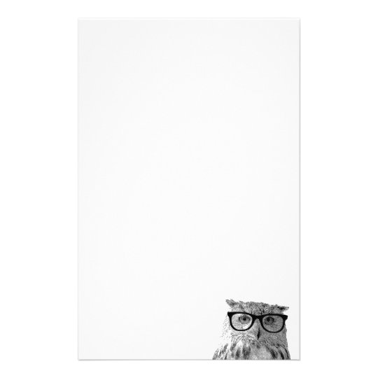 Cute owl with glasses stationery paper for writing
