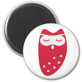 Cute owl with hearts fridge magnet