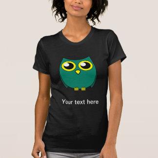 Cute Owl with Huge Yellow Eyes Dark Womens T-shirt