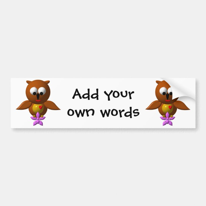 Cute owl with orchid bumper sticker
