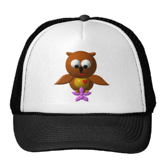 Cute owl with orchid trucker hat
