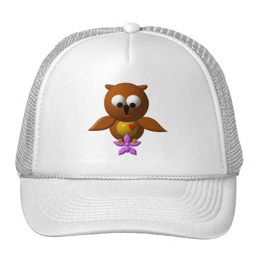 Cute owl with orchid hats