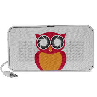 Cute Owl with Photography aperture eyes Portable Speaker