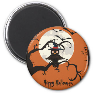 Cute owl with witches hat Happy Halloween 6 Cm Round Magnet