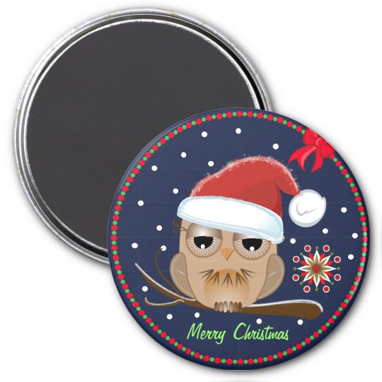 Cute Owl with Xmas hat & custom Text magnet