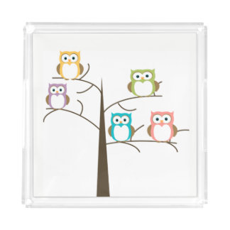 Cute Owls Acrylic Tray