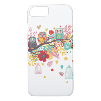 Cute Owls and colorful floral image background iPhone 8/7 Case
