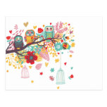 Cute Owls and colourful floral image background