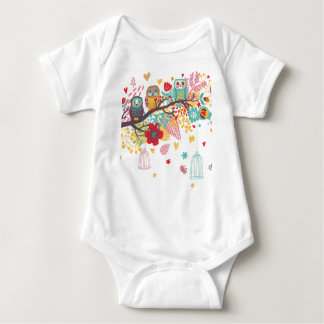 Cute Owls and colourful floral image background Baby Bodysuit