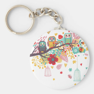 Cute Owls and colourful floral image background Basic Round Button Key Ring