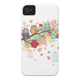 Cute Owls and colourful floral image background iPhone 4 Cases