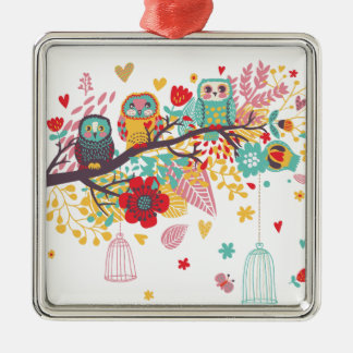 Cute Owls and colourful floral image background Christmas Ornament