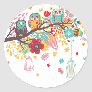 Cute Owls and colourful floral image background Classic Round Sticker