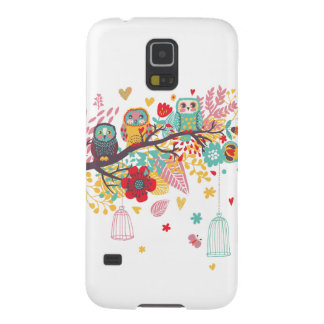 Cute Owls and colourful floral image background Galaxy S5 Cases