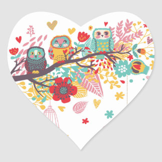 Cute Owls and colourful floral image background Heart Sticker