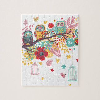 Cute Owls and colourful floral image background Jigsaw Puzzle