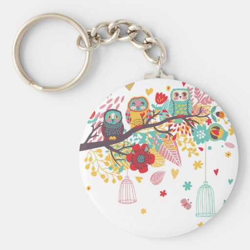 Cute Owls and colourful floral image background Keychains