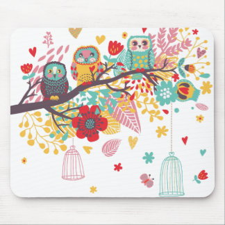 Cute Owls and colourful floral image background Mouse Mat