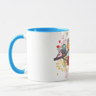 Cute Owls and colourful floral image background Mug