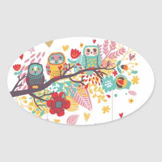 Cute Owls and colourful floral image background Oval Sticker