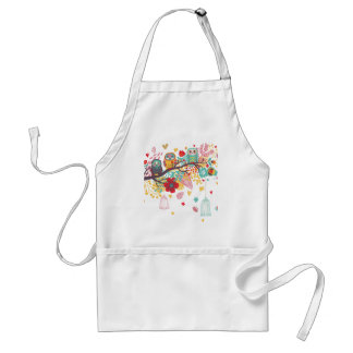 Cute Owls and colourful floral image background Standard Apron