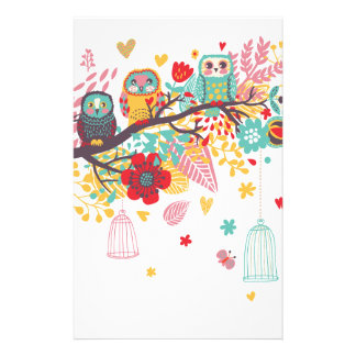 Cute Owls and colourful floral image background Stationery