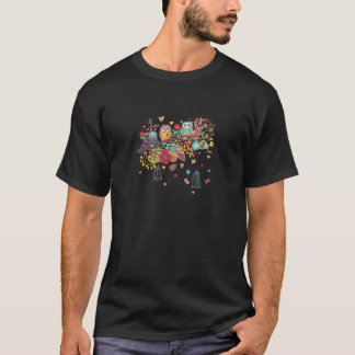Cute Owls and colourful floral image background T-Shirt