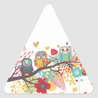 Cute Owls and colourful floral image background Triangle Sticker