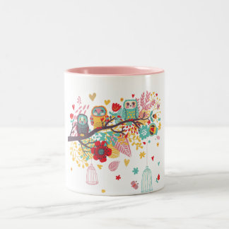Cute Owls and colourful floral image background Two-Tone Coffee Mug