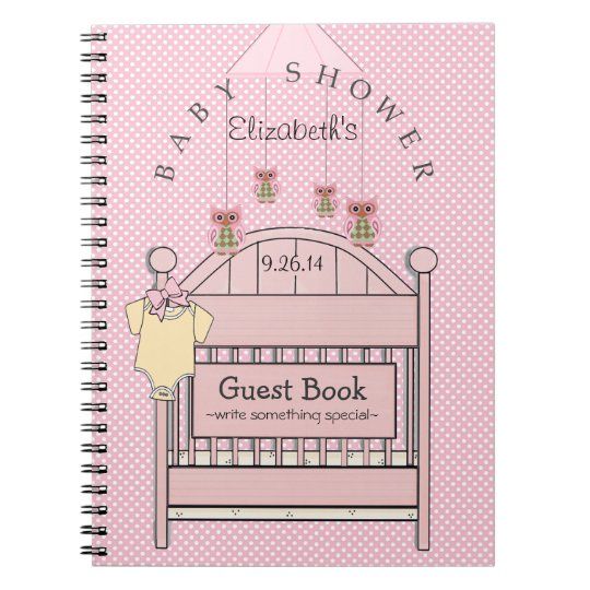 Cute Owls and Crib Baby Shower Guest Book- Spiral Notebook