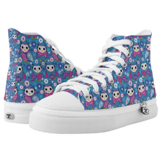 Cute Owls And Flowers High Tops