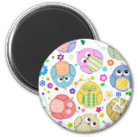 Cute Owls and Flowers pattern 6 Cm Round Magnet