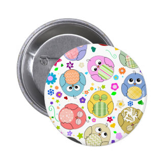 Cute Owls and Flowers pattern Pinback Buttons