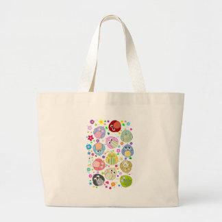 Cute Owls and Flowers pattern Jumbo Tote Bag