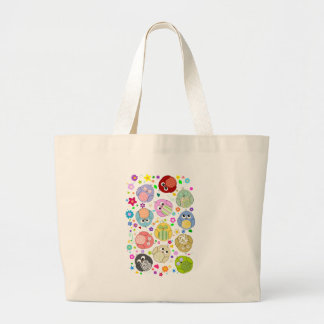 Cute Owls and Flowers pattern Large Tote Bag