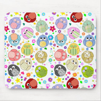 Cute Owls and Flowers pattern Mousemats