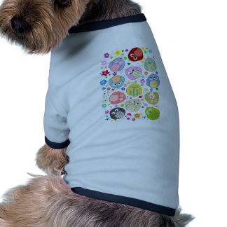 Cute Owls and Flowers pattern Ringer Dog Shirt