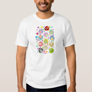 Cute Owls and Flowers pattern Tshirt