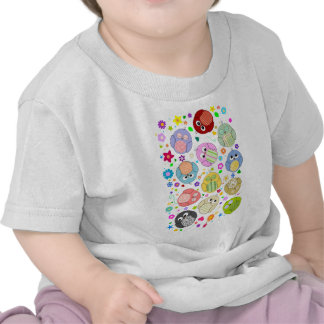 Cute Owls and Flowers pattern Tees