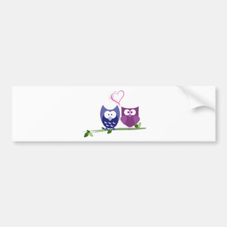 Cute Owls and Heart Bumper Sticker