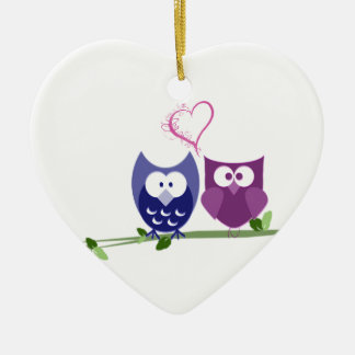 Cute Owls and Heart Ornament