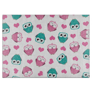 Cute Owls and Hearts Pattern Cutting Boards