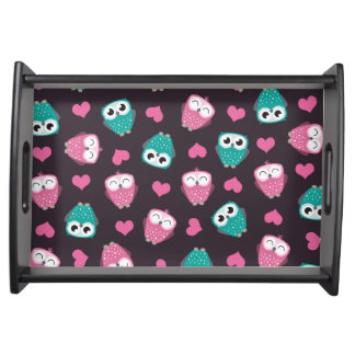 Cute Owls and Hearts Pattern Food Tray