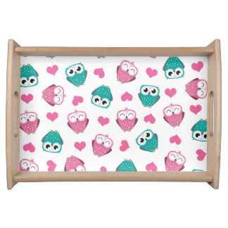 Cute Owls and Hearts Pattern Serving Tray
