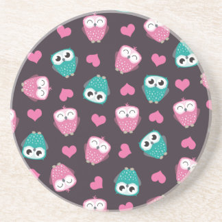 Cute Owls and Hearts Sandstone Coaster