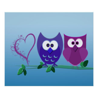 Cute Owls and Swirly Heart Poster