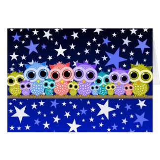 cute owls at night card