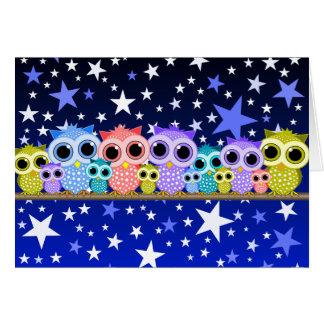 cute owls at night greeting card