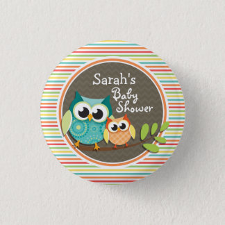 Cute Owls Baby Shower, Bright Rainbow Stripes 3 Cm Round Badge